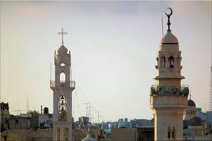 The Syrian Orthodox church and the Omar Mosque, Old Town, Bethlehem, Palestine. Photo: btlhm-21099
