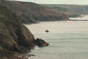 Porth Nanven near St Just - and the Sennen lifeboat