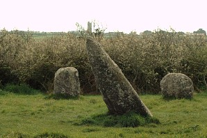 Deliberately sloping stone at Boscawen-un - acting as an anchor tent-peg in Britain's ancient energy net