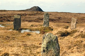 Nine Maidens stone circle with Carn Galver behind