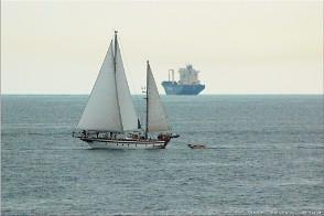 Falmouth, Cornwall. (The ship is empty - hence that it's floating high out of the water). Photo Falmouth_14304